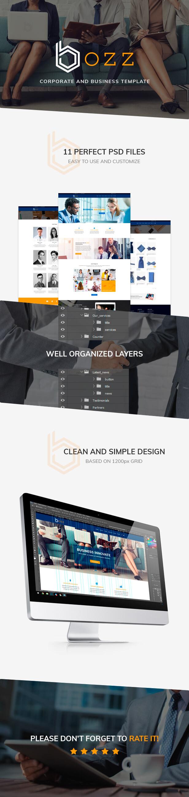 Bozz psd template - presentation